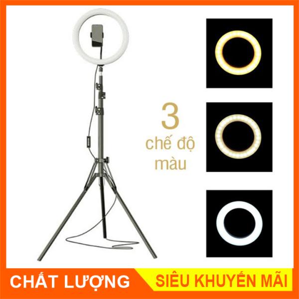 Bộ Đèn LiveStream 26cm Hỗ Trợ Ánh sáng Chụp Ảnh, Make Up Trang Điểm. 3 Chế Độ Sáng