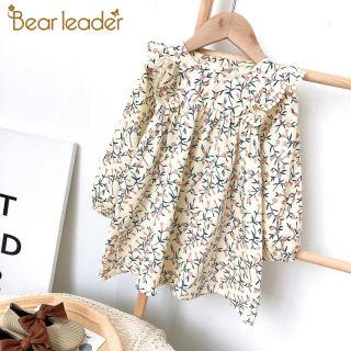 Đầm Thường Ngày Cho Bé Gái Lãnh Đạo Gấu Váy Hoa Trẻ Em Thời Trang Mới Cô Gái Mùa Xuân Quần Áo Trang Phục Công Chúa Hoa Dài Tay 3-7Y