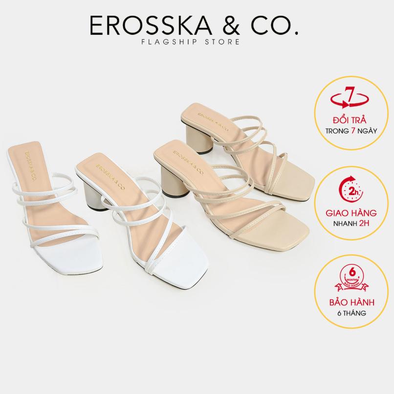 Dép cao gót Erosska thời trang mũi vuông quai mảnh sang trọng cao 5cm EM038 giá rẻ