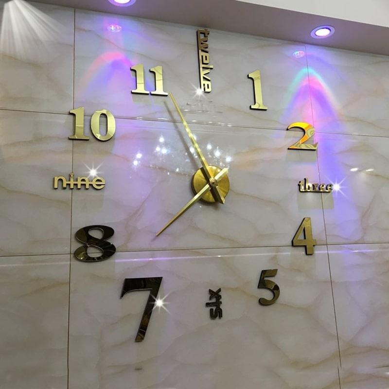 Đồng hồ treo tường dán tường thiết kế 3D sang trọng kiểu Châu Âu DIY nghệ thuật đơn giản độc đáo, ấn tượng SEENSI bán chạy