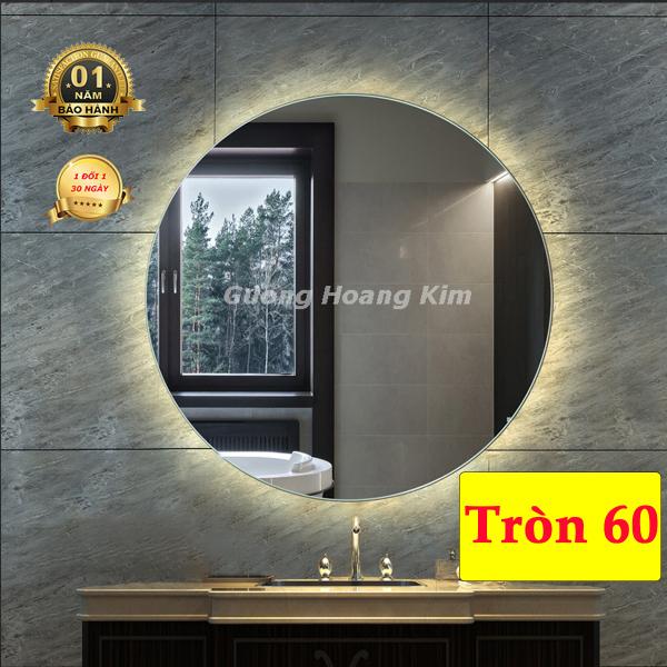 Gương Hoàng Kim Gương trang điểm đèn led cảm ứng 3 chạm hoặc 3 mầu + phá sương thông minh kích thước tròn D60cm - guonghoangkim mirror HK0003