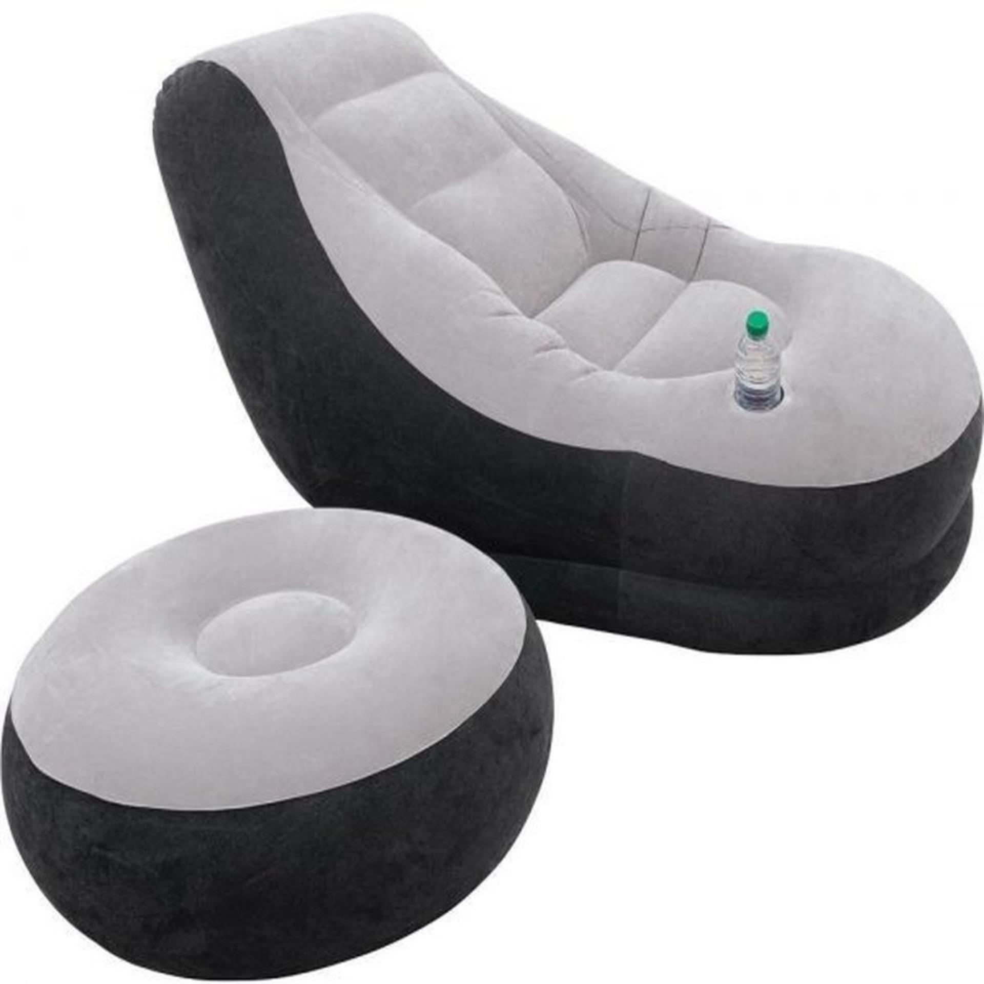 Ghế hơi tựa lưng bọc nhung Lazy Sofa, có đôn gác chân + tặng đồ bơm