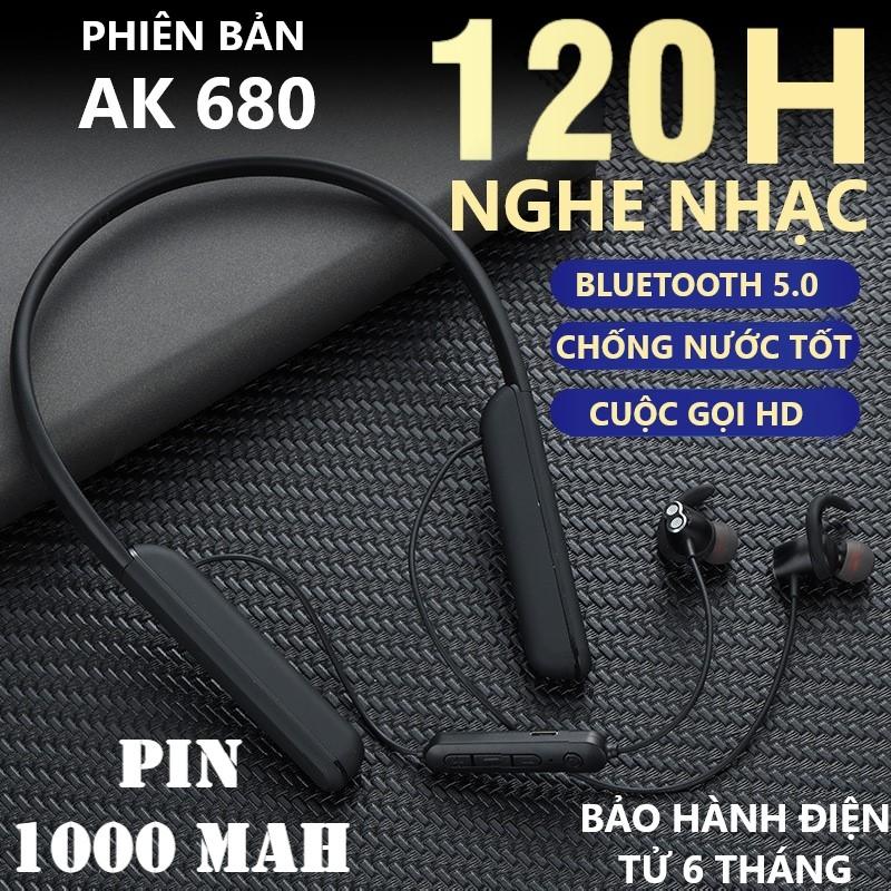 Tai Nghe Bluetooth Không Dây pin khủng 1000mAh, Nghe Nhạc 120H, Mic Đàm thoại tốt. Phiên bản AK680 bluetooth 5.0 kết nối 2 điện thoại, Âm Thanh 9D, Tai nghe Thể Thao Chống nước, Chống Ồn Tốt