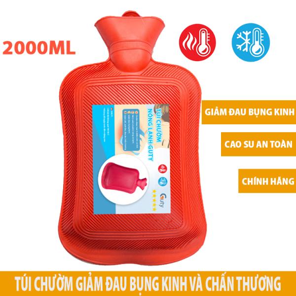 Túi chườm nóng lạnh cao su Guty, túi giữ nhiệt chườm đá đa năng giúp giảm đau bụng kinh, đau lưng, hông, đau do chấn thương, sưởi ấm, giảm sốt - Dung tích 2 lít - Kích thước 18,5x35cm - Guty Mart cao cấp