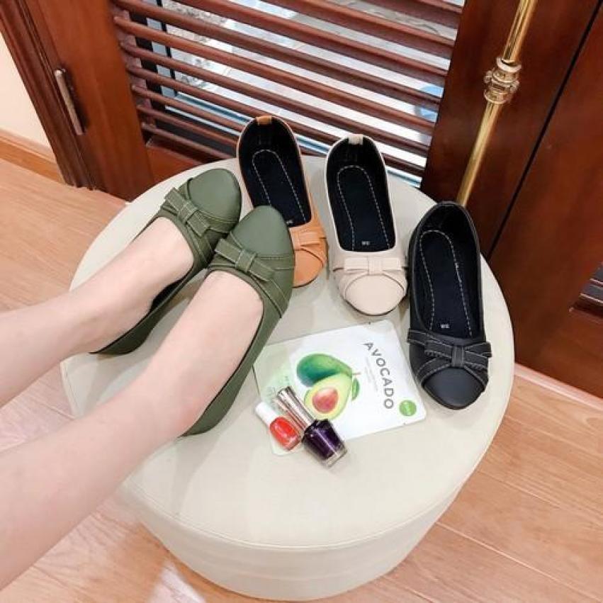 Giày Bệt Nữ, Búp Bê Mũi Tròn VNXK Nơ Xinh 2020 - Chất Da Bao Siêu Êm giá rẻ