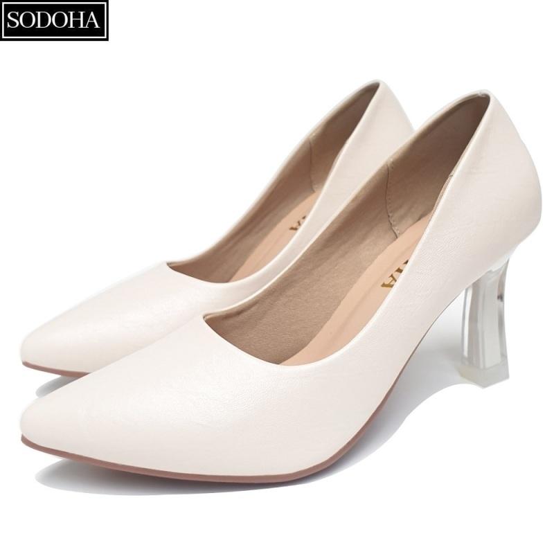 Giày Cao Gót Nữ SODOHA SDH-909W Trắng Sữa Da Nhăn Đế Cao 7Cm giá rẻ