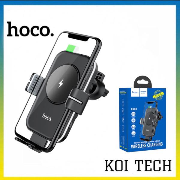 Gía đỡ điện thoại kiêm sạc không dây 15W trên oto xe hơi Hoco CB80 - giá đỡ 2 in 1 đa năng ô tô ip samsung oppo - KOITECH