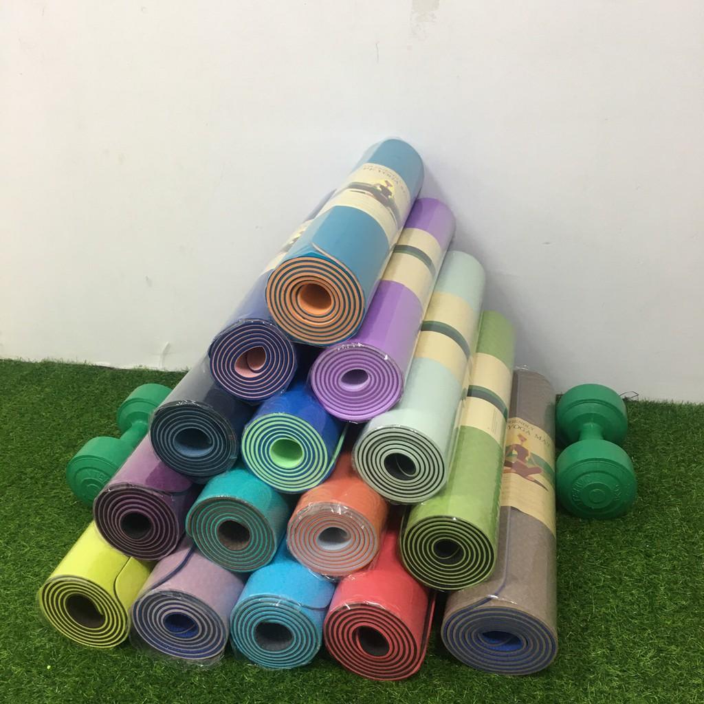 Siêu rẻ thảm tập Yoga 2 lớp TPE dày 6mm-8mm, thảm tập Gym chống trơn trượt và không thấm mồ hôi,đàn hồi tốt thumbnail