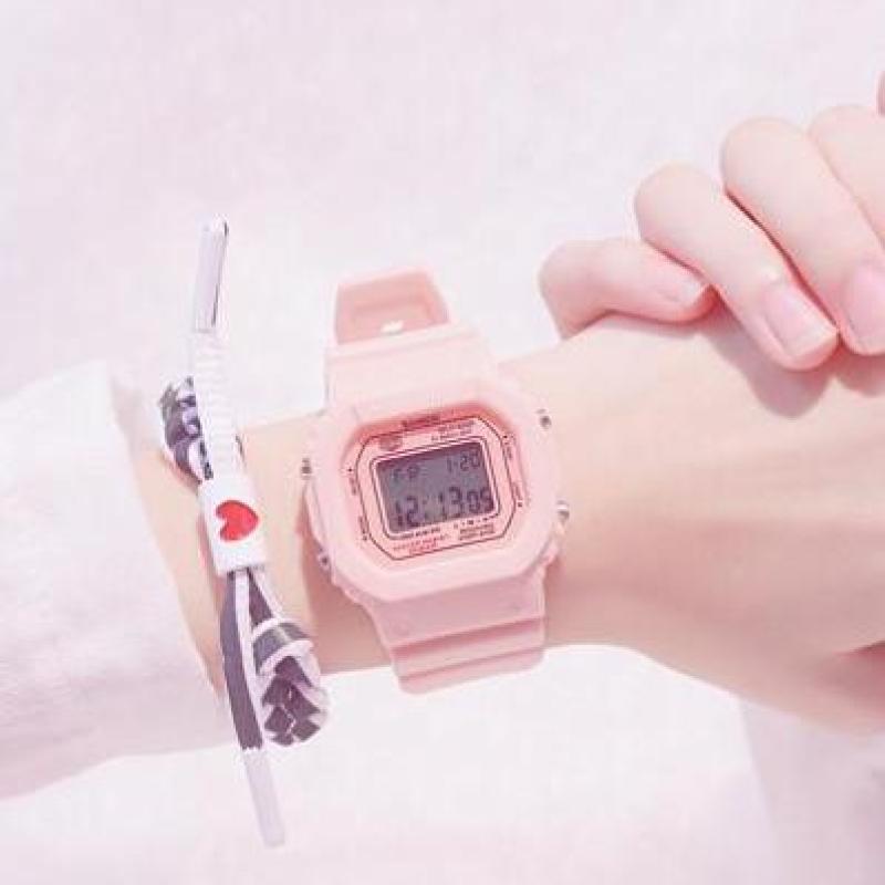 Nơi bán Đồng hồ thể thao nữ SANOSI SHHORS mặt chữ nhật dây cao su size 36x32mm