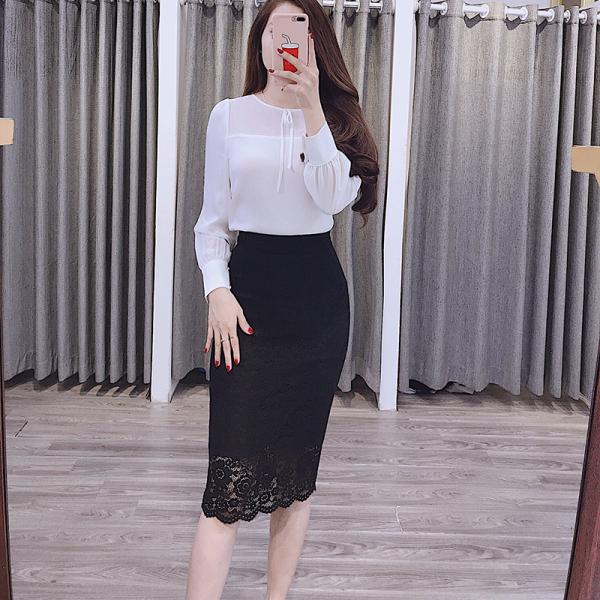Chân váy bút chì toàn ren Dáng ôm Công Sở Cúc Fashion CV22