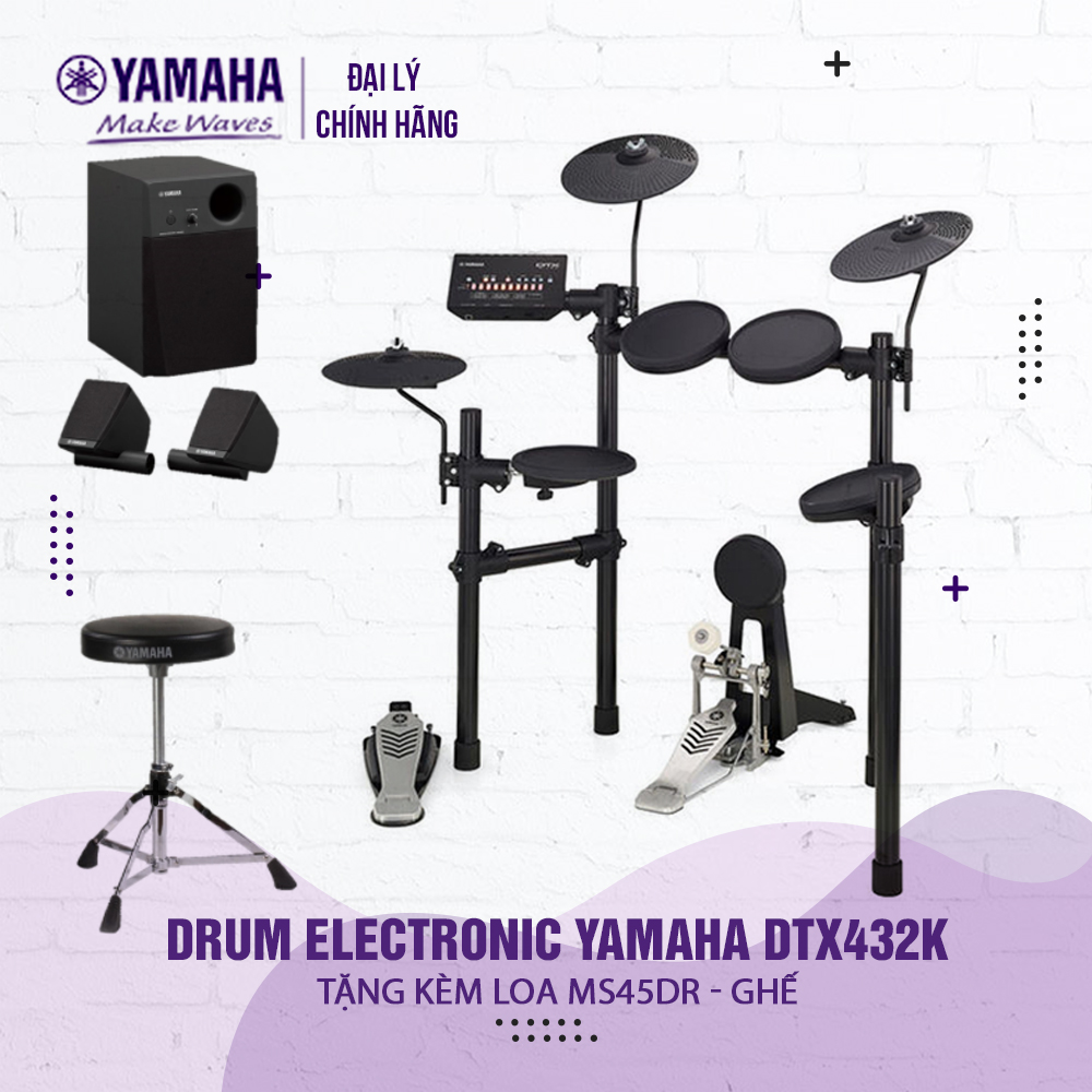 Bộ trống điện tử Yamaha DTX432K - Hàng chính hãng Yamaha phân phối ( Tặng bộ loa và ghế Yamaha + Bảo hành 12 tháng )