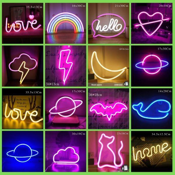 Bảng giá [Tặng móc dán] Đèn led NEON treo tường, đèn trang trí phòng ngủ dùng pin và USB nhiều kiểu dáng decor phòng ngủ, đồ trang trí phòng ngủ