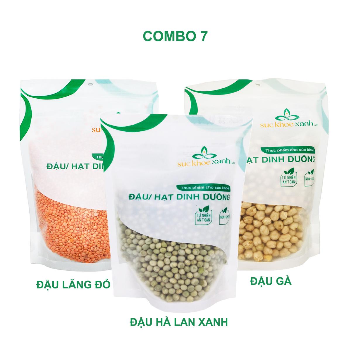 Combo 7 - Đậu gà & Đậu lăng đỏ & Đậu hà lan xanh nguyên hạt (mỗi túi 500g)