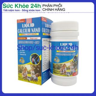 Viên uống bổ sung canxi Liquid Calcium Nano - Hộp Xanh da trời 100 viên dùng cho trẻ em trên 6 tuổi, người lớn, bà bầu HSD 2023 , sức khỏe 24h thumbnail