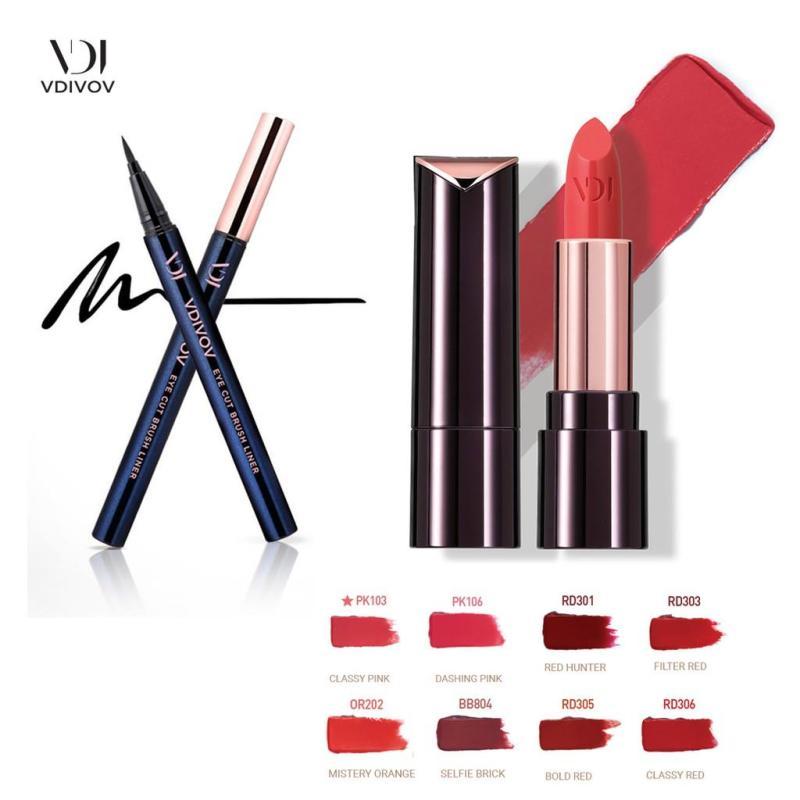 Bộ VDIVOV Son Môi Lip Cut Rouge 3.8g và Bút Kẻ Mắt Nước Eye Cut Brush Liner màu 01 Black 0.6g tốt nhất