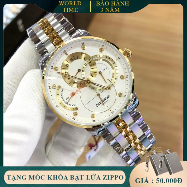 Đồng hồ nam cao cấp dây kim loại Sunrise 1146SA-5 full box, kính saphire chống xước, chống nước, thẻ bảo hành toàn quốc 3 năm