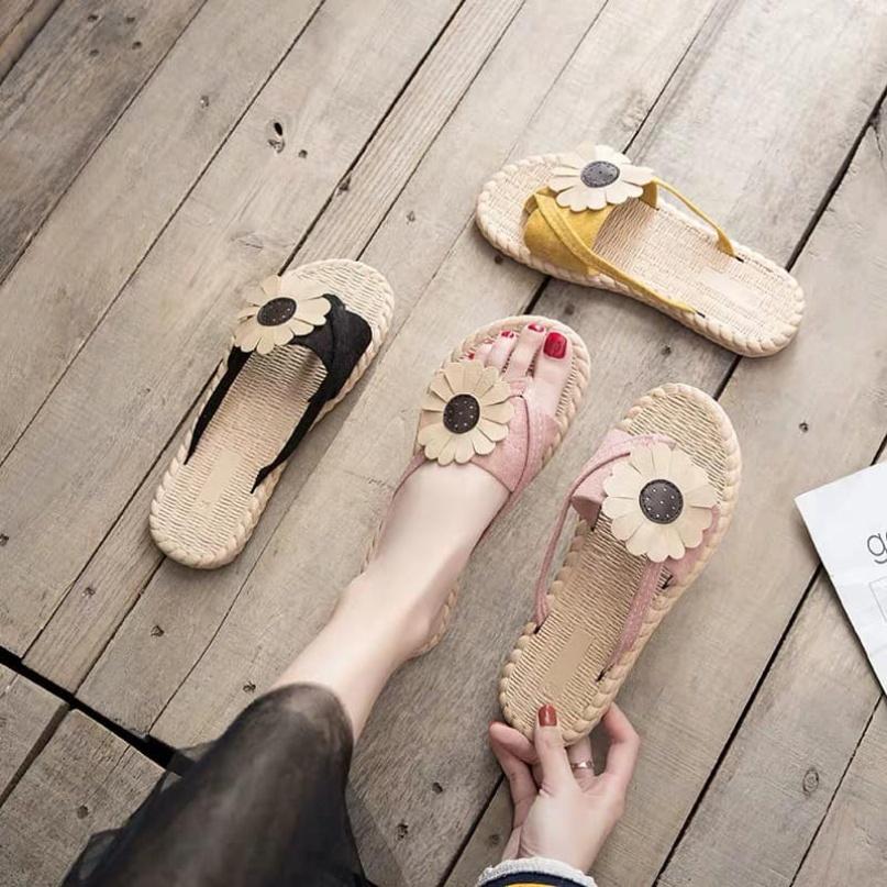 [ Bộ sưu tập Itawon] Dép xỏ ngón nữ HOA HƯỚNG DƯƠNG phiên bản Hàn Quốc Chống trơn (Vàng, Hồng, Đen) giá rẻ