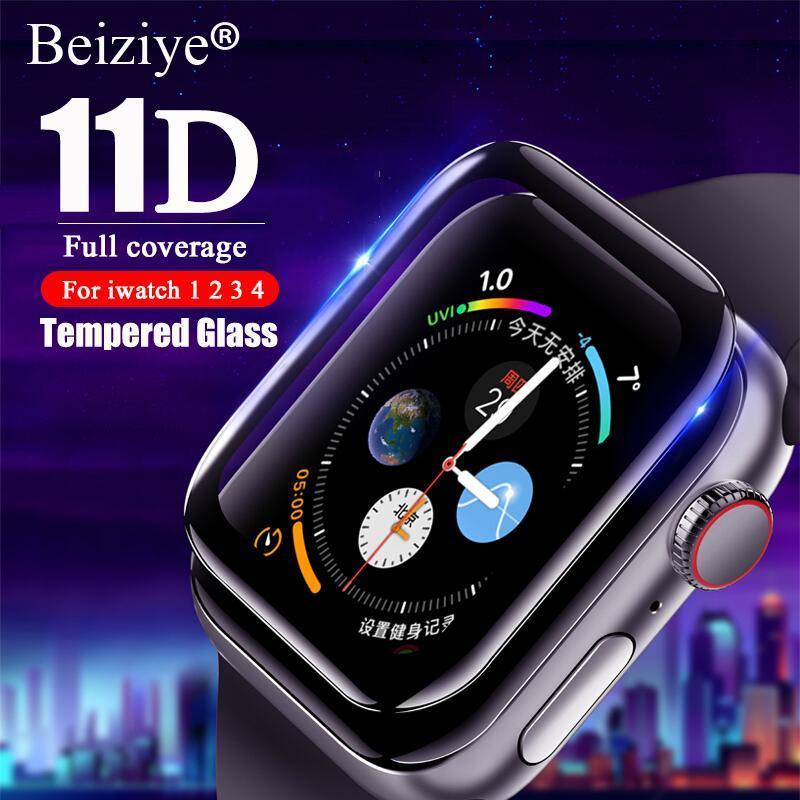 Giá [Gửi quà tặng miễn phí] Kính cường lực 10D Full Cover cho Apple Watch 5 Series Bảo vệ màn hình cho iwatch 4/3/2/1 38 40 42 44mm Kính cường lực màu đen