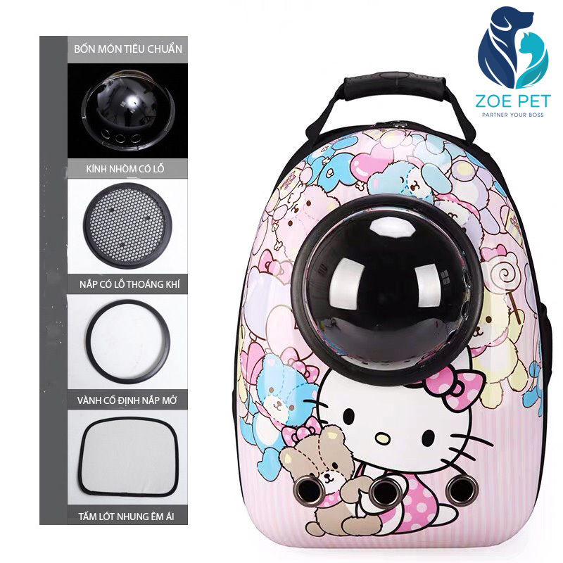 Balo Phi Hành Gia Cho Chó Mèo - Mẫu Hello Kitty