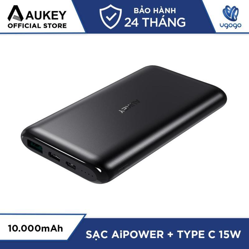 Giá Pin Sạc Dự Phòng 10000mAh Aukey PB-XN10 Cổng Sạc USB-C (5V/3A) & USB-A (5V/2.4A) Tích Hợp AiPower - Nhà Phân Phối Chính Thức