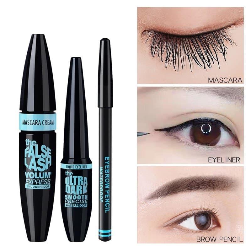 Set 3 Món Trang Điểm Mắt (Bao Gồm Gel Mascara, Gel Vẽ Viền Mắt Eyeliner, Bút Vẽ Lông Mày)