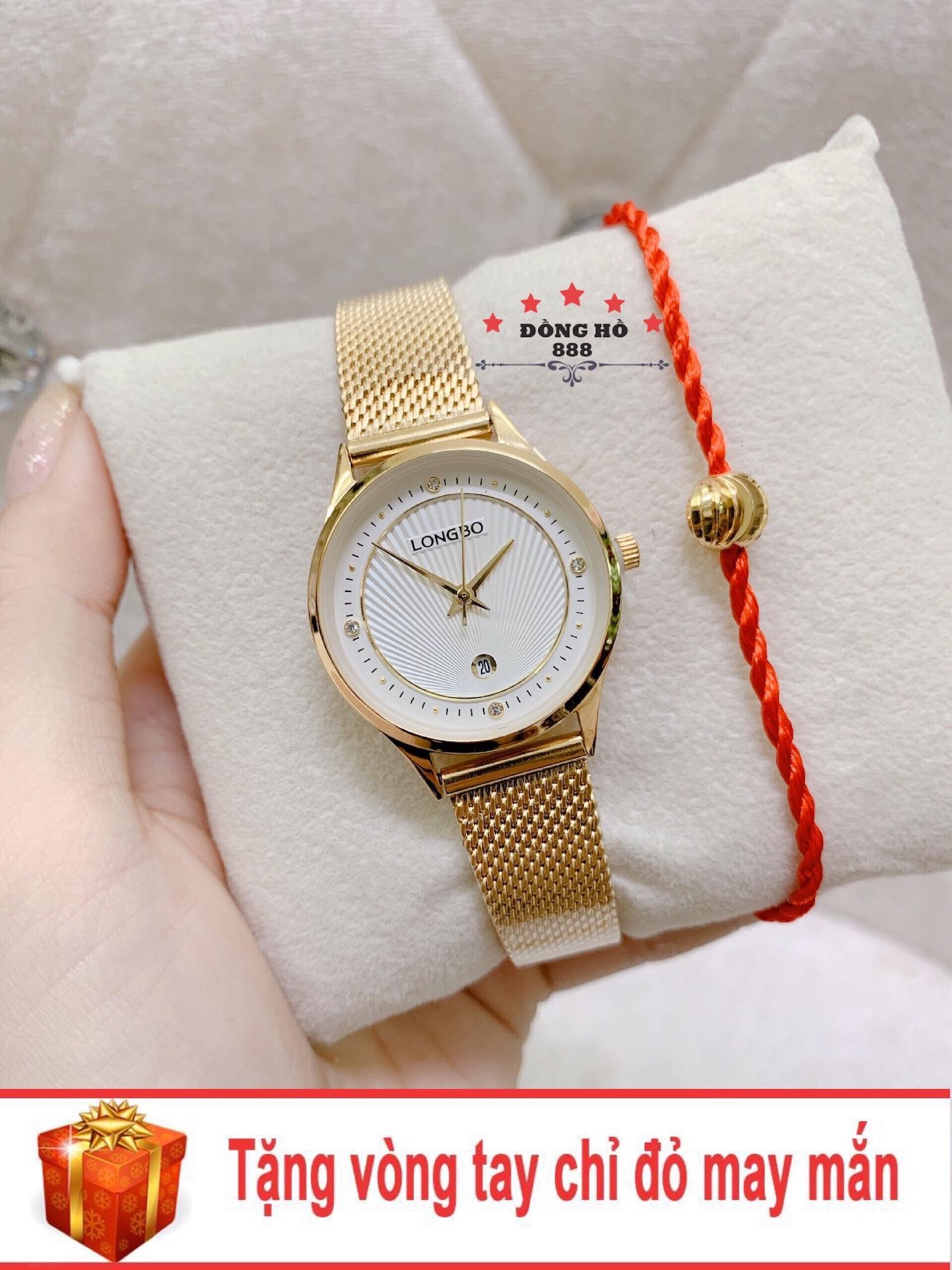 Đồng hồ nữ Longbo dây thép thời thượng có lịch ( LB5101 dây vàng mặt trắng ) - TẶNG 1 vòng tay chỉ đỏ may mắn bán chạy
