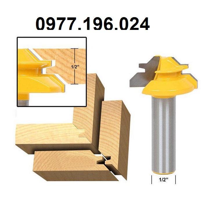 Mũi phay gỗ ghép góc vuông cốt 12ly7 - Mũi soi gỗ