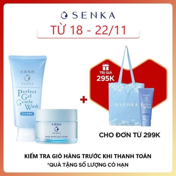 Kem dưỡng cấp ẩm chuyên sâu Senka Deep Moist Gel Cream 50g tặng Gel rửa mặt dịu nhẹ Senka Gel Gentle Wash 100g giá rẻ