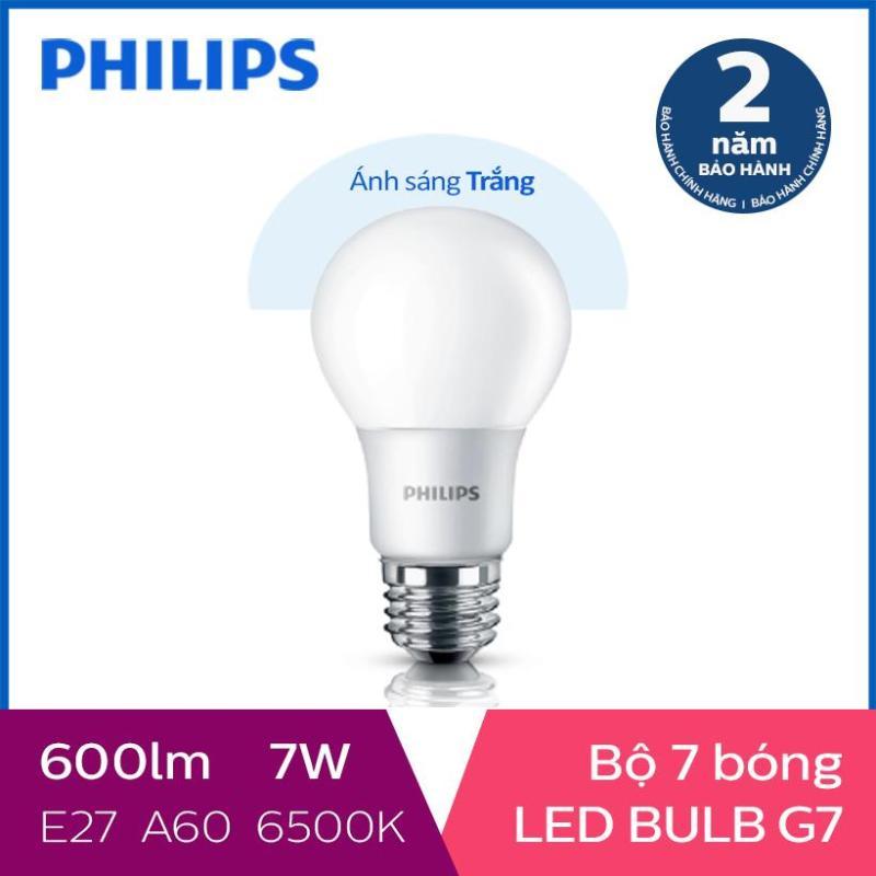 Bộ 7 Bóng đèn Philips Ledbulb 7W 6500K đuôi E27 230V A60 - Ánh sáng trắng
