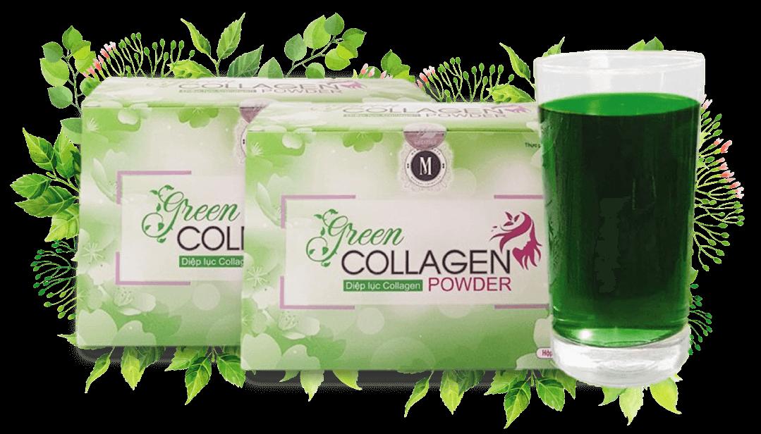 Diệp lục Collagen Green hộp 30 gói mờ nám tàn nhang
