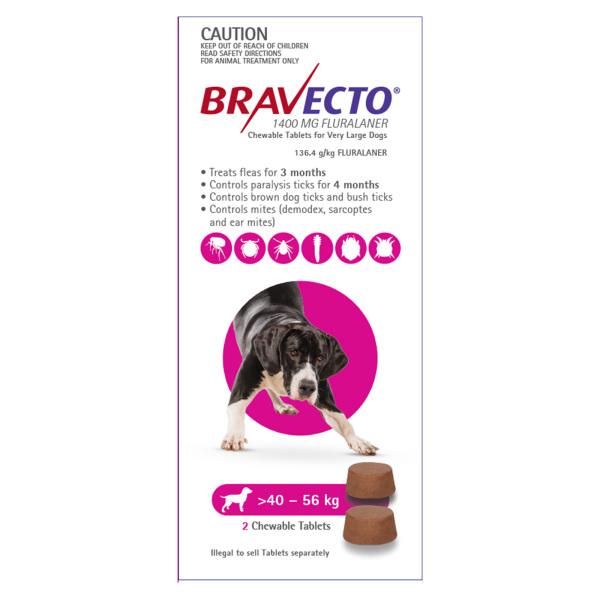 Bravecto Cho Cún 40-56kg - Phòng Ve, Rận, Bọ Chét, Ghẻ Demodex Trên Chó Lẻ Viên