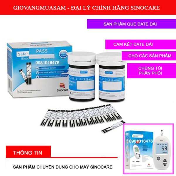 Hộp 25 que thử đường huyết Sinocare DATE DÀI chuyên dụng cho máy Sinocare + Tặng 50 kim chích máu
