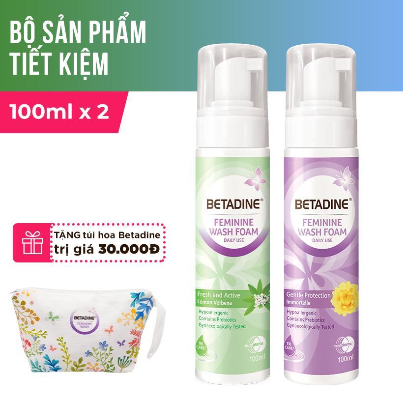 Bộ 2 bọt vệ sinh phụ nữ Betadine 100ml (Tím và Xanh) + Tặng túi hoa Betadine chính hãng