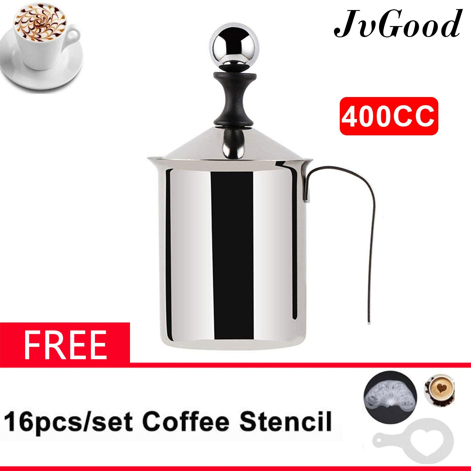 Jvgood Manual Milk Frother Foamer Stainless Steel Cappuccino Coffee Creamer Foam Pitcher With Handle And Lid Double Mesh 400cc/800cc By Jvgood.