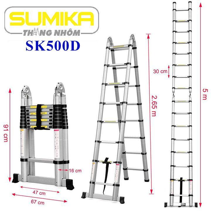 Thang nhôm rút chữ A Sumika SK500D - 5m