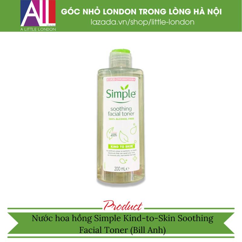 Nước hoa hồng Simple Kind to Skin Soothing Toner - 200ml (Bill Anh)