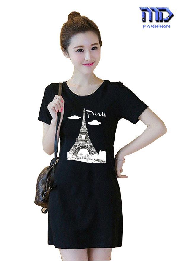 Đầm suông in THÁP PARIS thời trang nữ MD0020