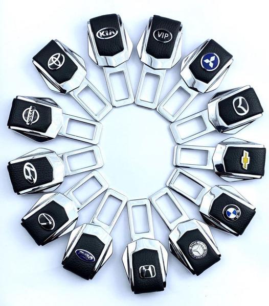 Bộ 2 Chốt đai ngắt chuông cảnh báo an toàn ô tô bọc da cao cấp in logo Hãng