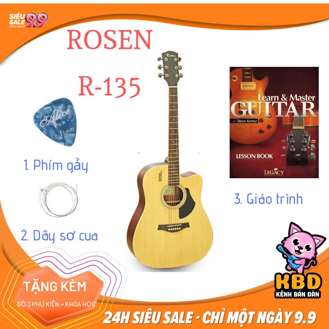 [TẶNG KÈM KHÓA HỌC] Đàn Guitar Acoustic ROSEN tặng kèm pick gảy, dây sơ cua, giáo trình R135