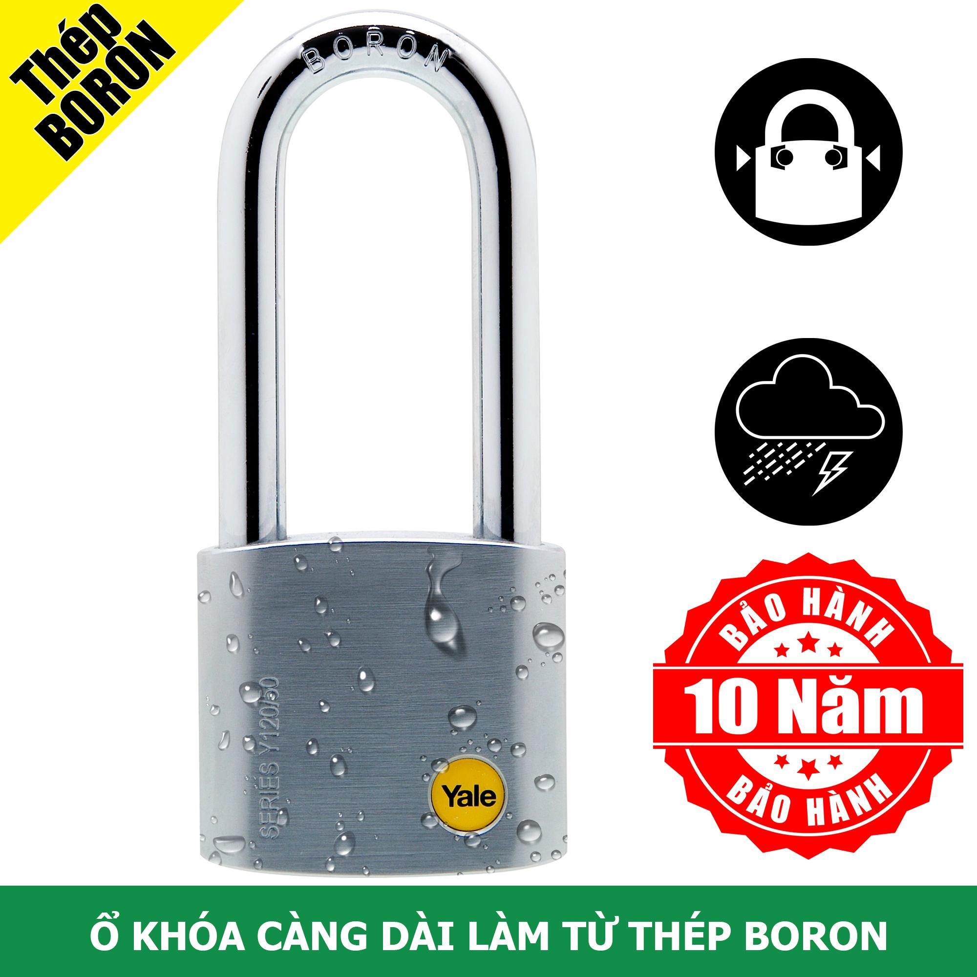Ổ khóa cửa càng dài 7cm làm bằng thép Boron rất cứng màu Satin phủ Chrome sẻo Yale Y120/50/163/1