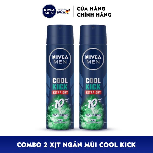 Combo 2 Xịt ngăn mùi NIVEA MEN Cool Kick Mát Lạnh - Thơm sảng khoái (150ml) - 83165 giá rẻ