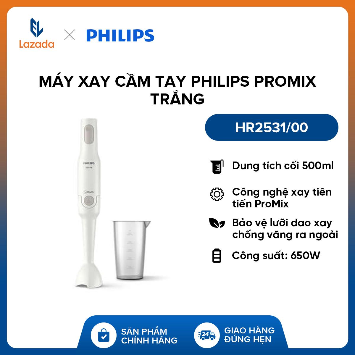 Máy xay sinh tố cầm tay Philips ProMix HR2531/00 (Trắng) - Hàng phân phối chính hãng