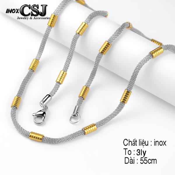 Dây chuyền inox kiểu lưới trắng sáng bọc khoen mạ vàng thời trang siêu đẹp