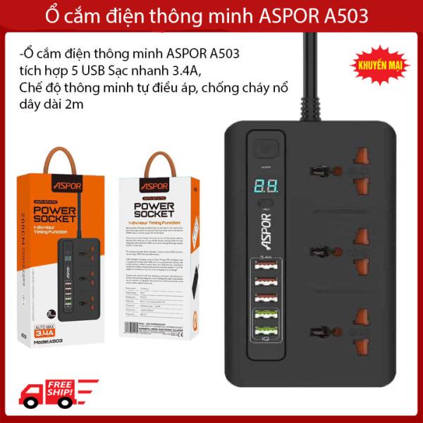 Ổ cắm điện thông minh ASPOR A503 tích hợp 5 USB Sạc nhanh 3.4A, Chế độ thông minh tự điều áp, chống cháy nổ, dây dài 2m- Ổ cắm điện đa năng- Ổ cắm điện thông minh hẹn giờ- Ổ cắm điện đa năng