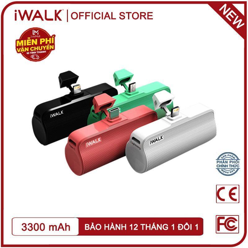 Giá Pin sạc dự phòng mini, cục sạc dự phòng giá rẻ iWalk DBL3300 dung lượng 3300mAh, cắm trực tiếp không cần dây cáp