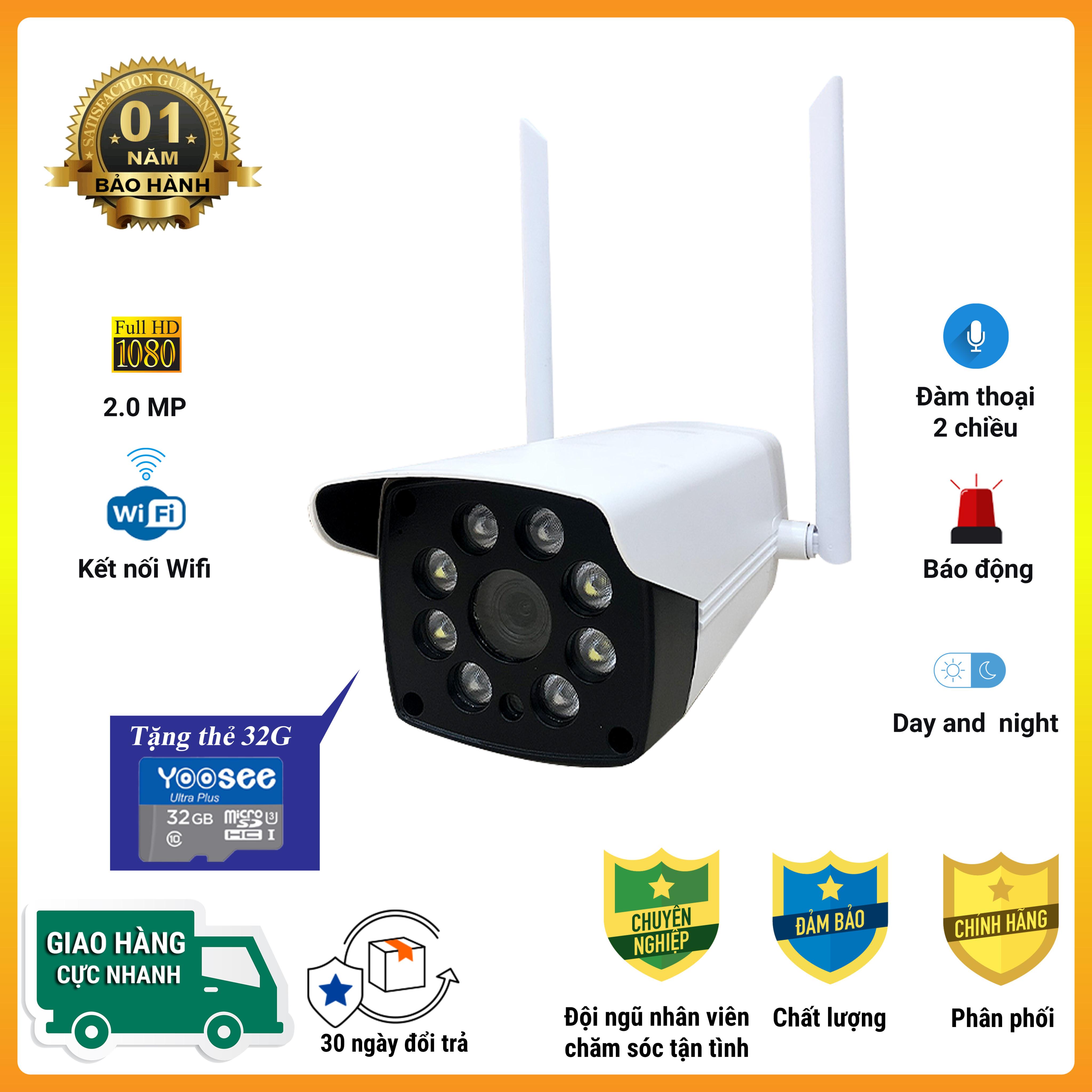 [Combo kèm thẻ nhớ] Camera IP Wifi Ngoài trời FULL HD 3.0MP 8 LED  Xem Đêm Có Màu,đàm thoại, cảnh báo - Bảo hành 12 tháng