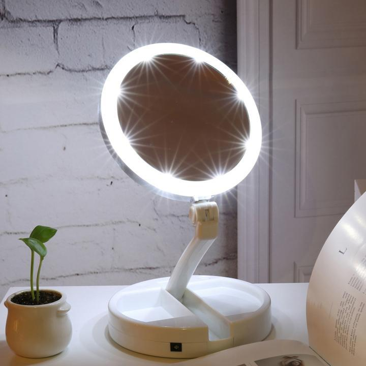 Gương trang điểm để bàn gấp gọn có đèn LED dễ dàng mang theo bên mình tốt nhất