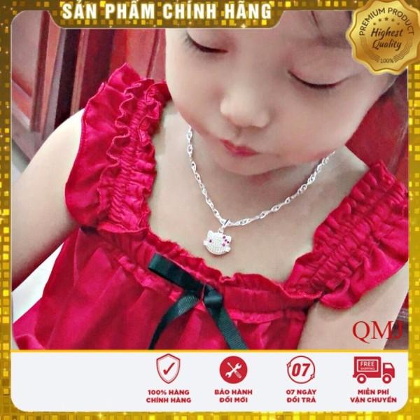 Giá bán Dây chuyền bạc cho bé gái mặt kitty xinh xắn, Trang sức bạc QMJ cam kết chất lượng, bảo hành trọn đời sản phẩm
