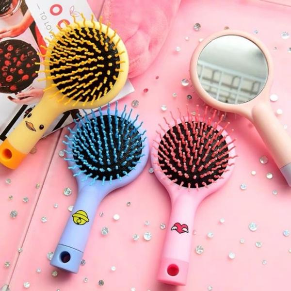 Lược kèm gương 2 trong 1 tiện lợi dành cho các bạn nữ - gương kèm lược chải tóc chống rối chống rụng tóc giá rẻ