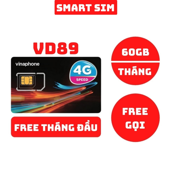 Sim 4G Vinaphone VD89 miễn phí tháng đầu tặng 60GB data mỗi tháng, miễn phí gọi nội mạng và 50 phút ngoại mạng - Smart Sim HC